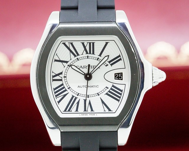 "Cartier W6206018 Roadster ""S"" Watch SS /Rubber Silver"