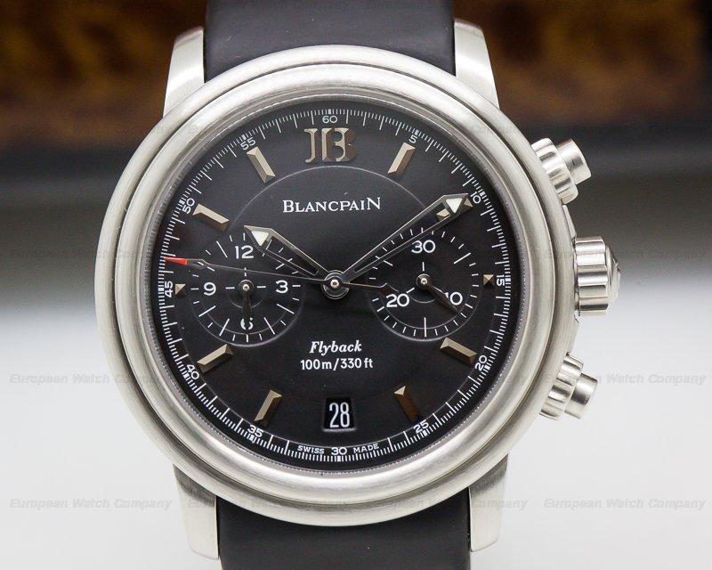 Blancpain 2182F-1130A-71 Leman Aqua Lung Flyback Chronograph Black Dial SS