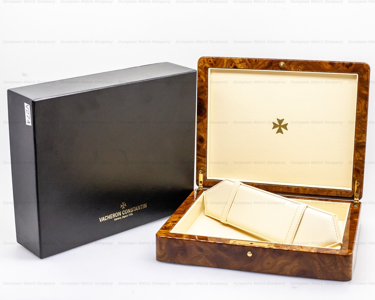 Vacheron Constantin 47051/000G-8759 Triple Date 18K White Gold / White Gold Tang Buckle PATINA