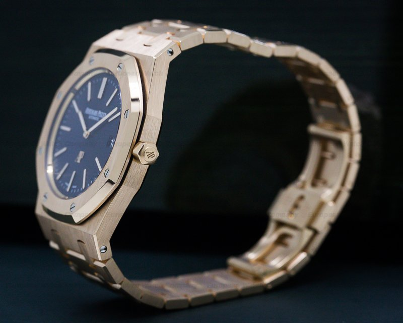 Audemars Piguet 15202OR.OO.1240OR.01 Royal Oak Jumbo 15202 18K Rose Gold / Blue Dial
