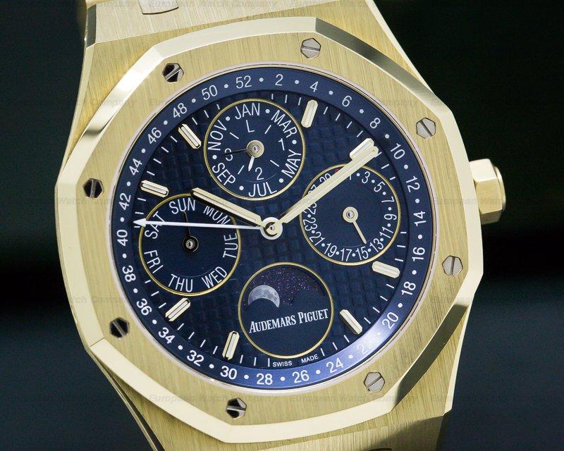 Audemars Piguet 26574BA.OO.1220BA.01 Royal Oak Perpetual Calendar 18k yellow Gold Blue Dial + Extras