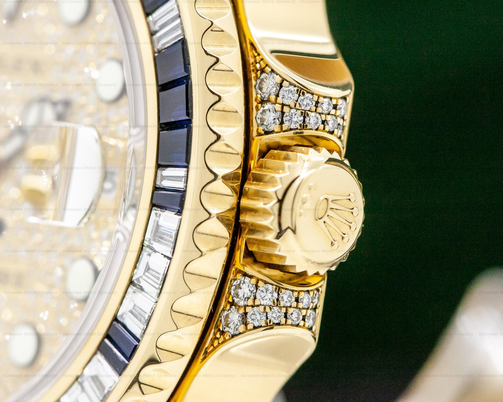 Rolex 116758SA GMT Master II Yellow Gold Pave Dial / Sapphire & Diamond Bezel