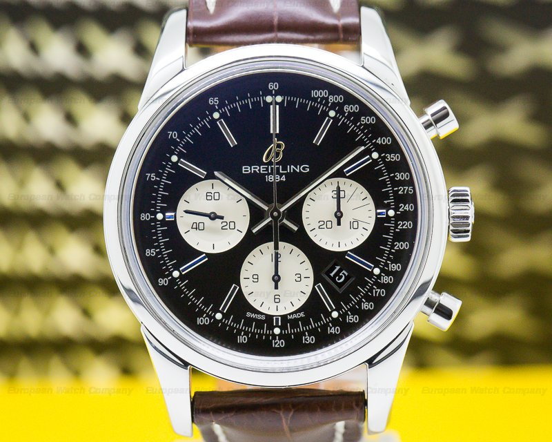 Breitling AB015112/BA59 Transocean Chronograph SS/SS Deployant Black Dial