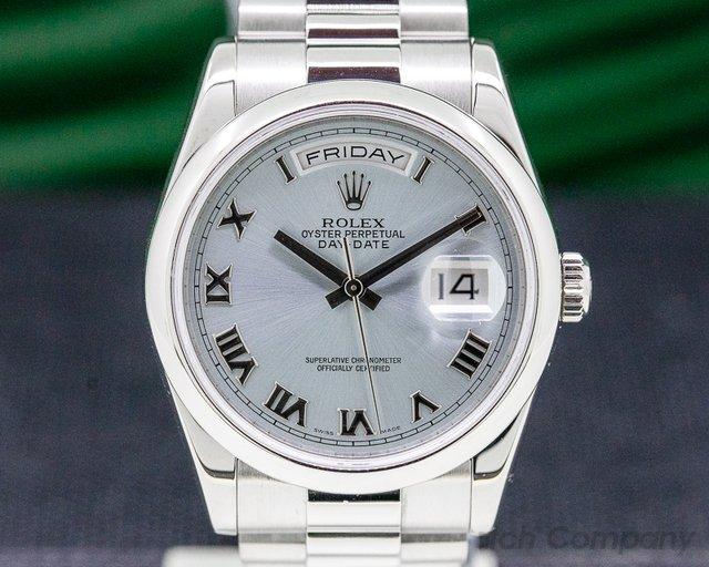 Rolex 118206 President Platinum Glacier Roman Dial / COMPLETE