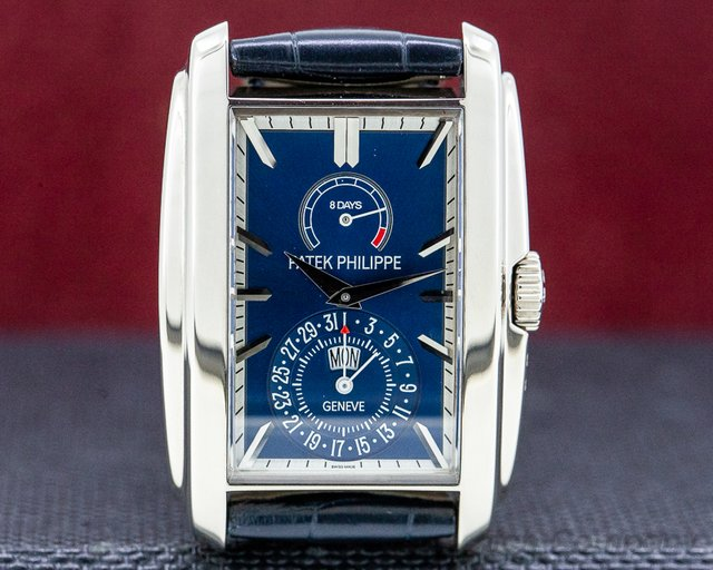 Patek Philippe 5200G-001 Gondolo 8 Day Manual Wind Blue Dial 18K White Gold