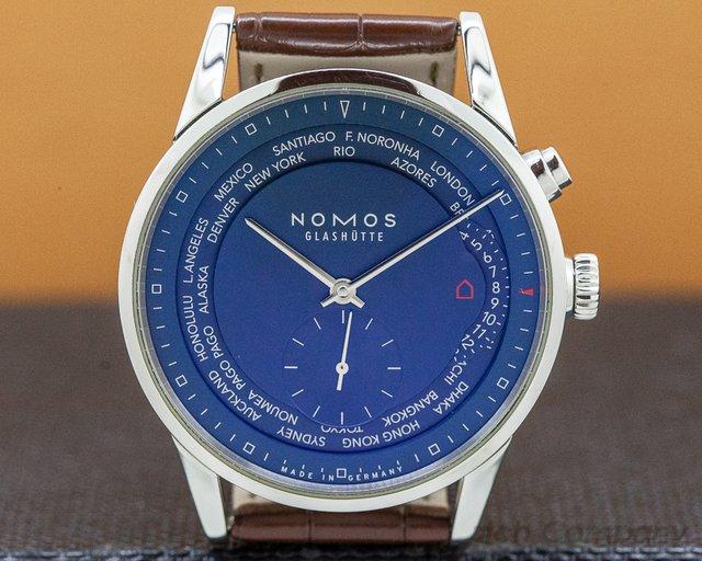 """Nomos 807 Zurich """"Weltzeit""""  Blue Dial World Timer SS / Leather"""