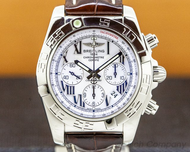 Breitling AB0110 Chronomat 44 B01 White Dial SS Tang Buckle