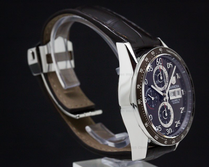 TAG Heuer CV2A12-FC6236 Carrera Day Date Chronograph SS Brown Dial / Brown Alligator