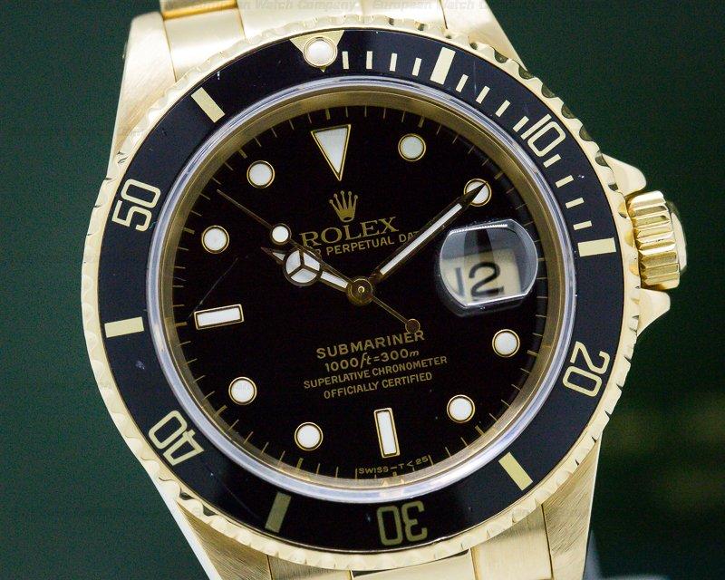 Rolex 16618N Rolex Submariner Black Dial 18K Yellow Gold EXCELLENT