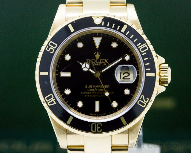 Rolex 16618N Rolex Submariner Black Dial 18K Yellow Gold EXCELLENT