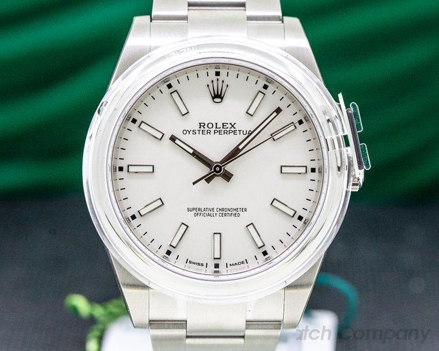 Rolex 114300 Oyster Perpetual SS White Stick Dial UNWORN