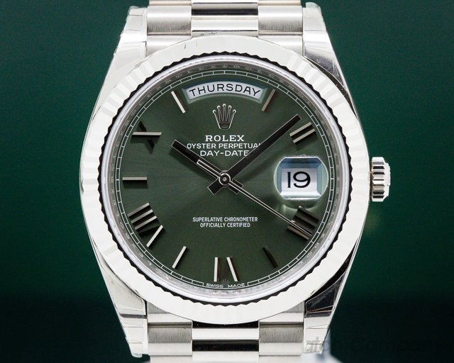Rolex 228239 GNSRP Day Date President 18K White Gold Green Dial 40MM UNWORN