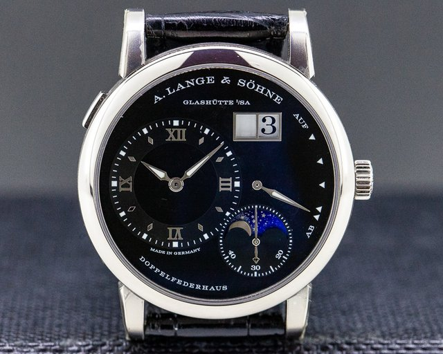 A. Lange and Sohne 192.029 Lange 1 Moon 18K White Gold Black Dial / Day Night