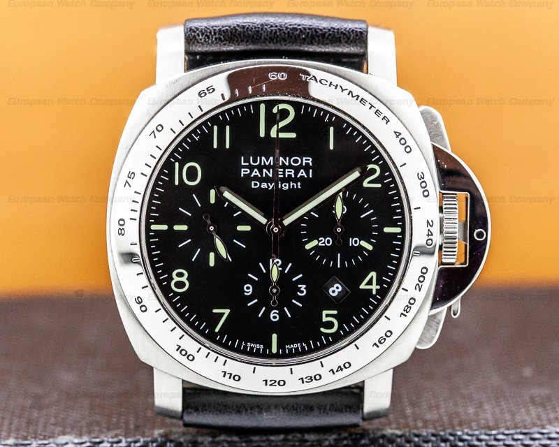 Panerai PAM00196 Luminor Chronograph Daylight SS Black Dial