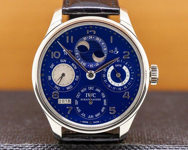 IWC IW503203 Portuguese Perpetual Calendar Double Moon 18K White Gold