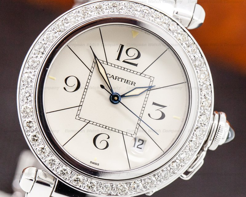 Cartier Pasha 38 18K White Gold / Bracelet Diamond Bezel