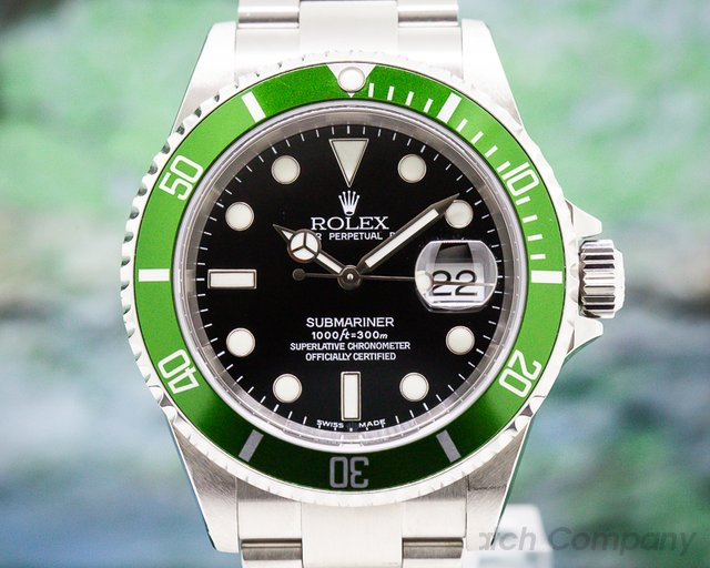 Rolex 16610LV Submariner 50th Anniversary Flat 4 2003 Green Bezel UNPOLISHED