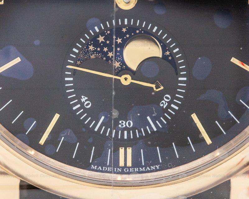 A. Lange and Sohne 384.031 Saxonia Moon Phase Automatik 18K Rose Gold / Black Dial UNWORN