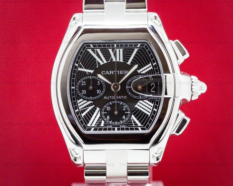 Cartier W62020X6 Roadster Chronograph XL Black Dial SS / SS