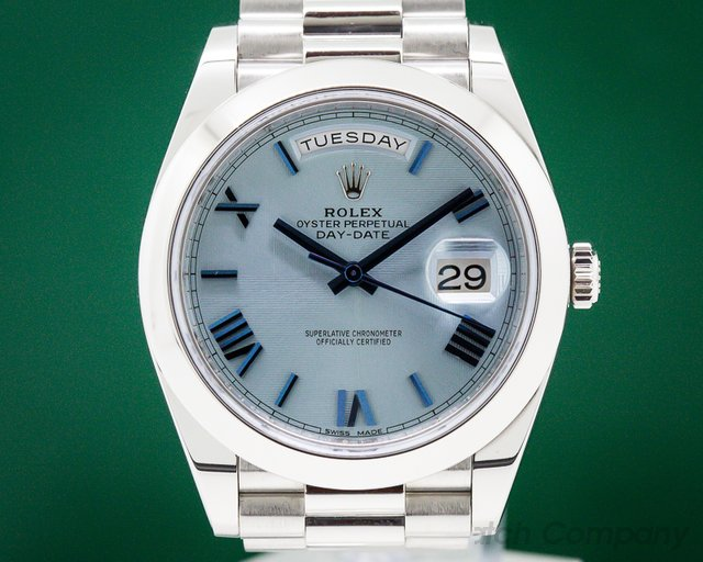 Rolex 228206 Day Date Platinum Blue Dial Roman Numeral 40MM