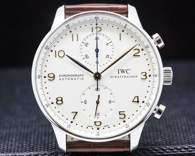 IWC 371401 Portuguese Chronograph Silver Dial Gold Numerals SS