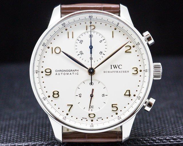 IWC 371401 Portuguese Chronograph Silver Dial Gold Numerals SS