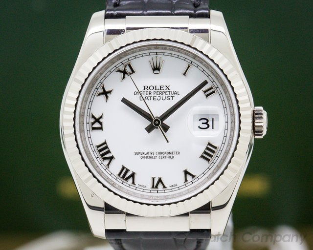 Rolex 116139 Datejust White Gold Roman Dial / Alligator Strap