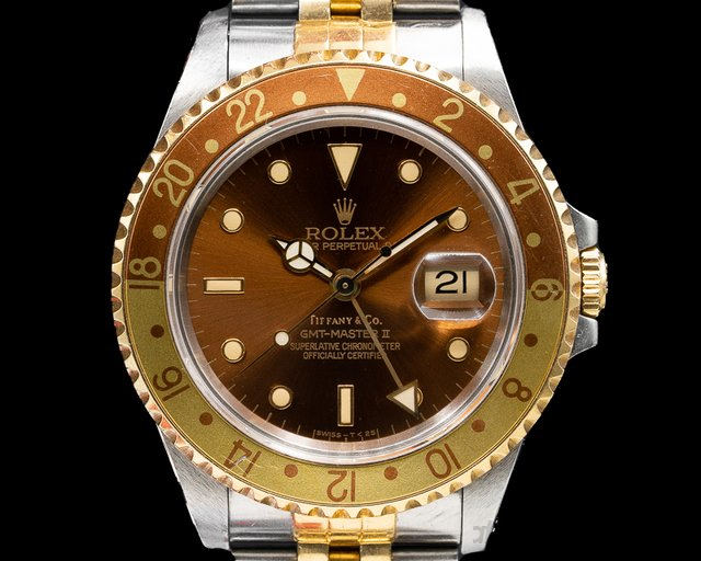 """Rolex 16713 Tiffany GMT Master II """"Root Beer"""" TIFFANY & CO WITH ORIGINAL CERTIFICATE"""