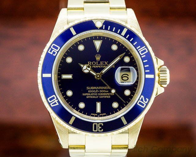 Rolex 16618 Rolex Submariner Bule Dial 18K Yellow Gold