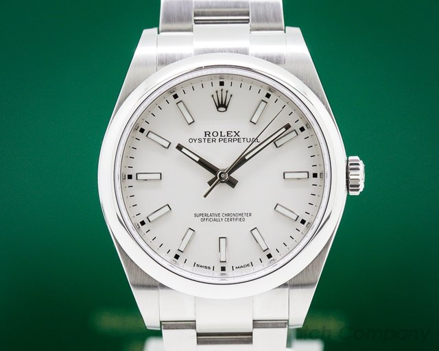 Rolex 114300 Oyster Perpetual SS White Stick Dial