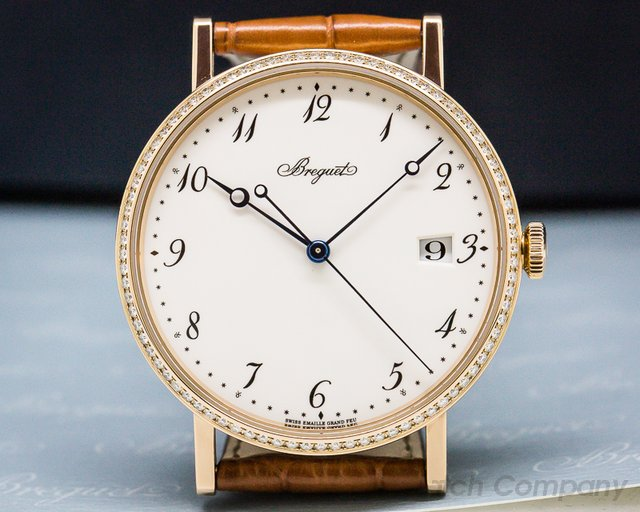 Breguet 5178BR/29/9V6 Classique Automatic Enamel Dial and Diamond Bezel/18K Rose Gold