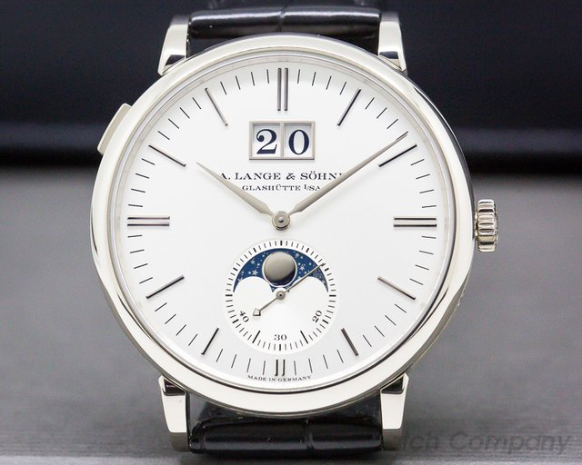 A. Lange and Sohne 384.026 Saxonia Moon Phase Automatik 18K White Gold / Silver Dial