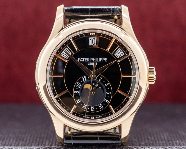 Patek Philippe 5205R-010 Annual Calendar Black Dial 18k Rose Gold