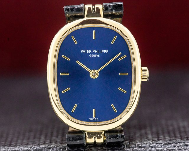 Patek Philippe 4764J Ladies Golden Ellipse Blue Dial 18k Yellow Gold