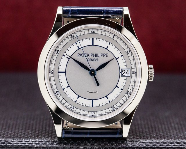 Patek Philippe 5296G-001 Calatrava 18K White Gold Sector Dial TIFFANY & CO UNWORN