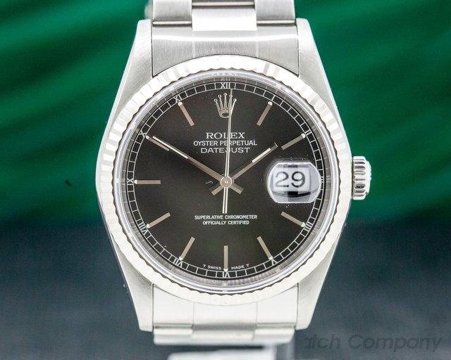 Rolex 16234 Datejust Black Stick Dial SS / Oyster Bracelet