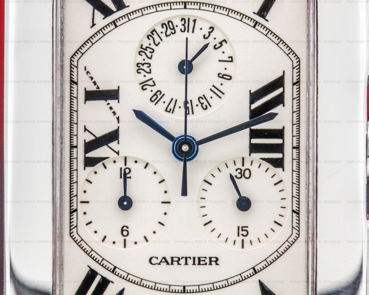 Cartier W26033L1 Tank Americaine Chronograph 18K White Gold / Bracelet