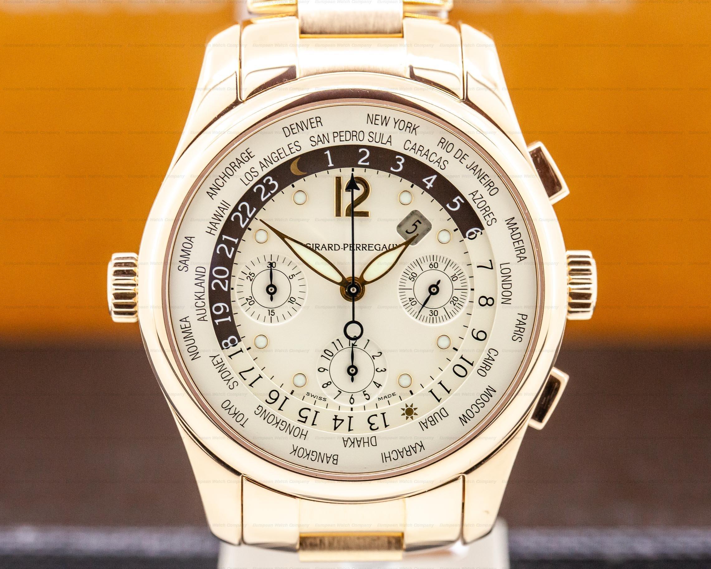 Girard Perregaux 49800-5-52-1041 World Time WW.TC Chronograph 18K Rose Gold 43MM