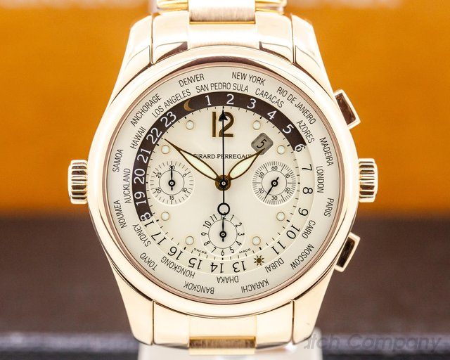 Girard Perregaux 49800-5-52-1041 World Time WW.TC Chronograph 18K Rose Gold 43MM