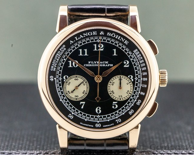 A. Lange and Sohne 401.031 1815 Flyback Chronograph Black Dial 18K Rose Gold
