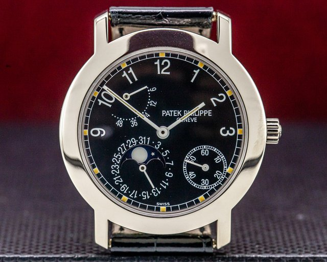 Patek Philippe 5055G Moon Phase Power Reserve Black Dial 18K White Gold