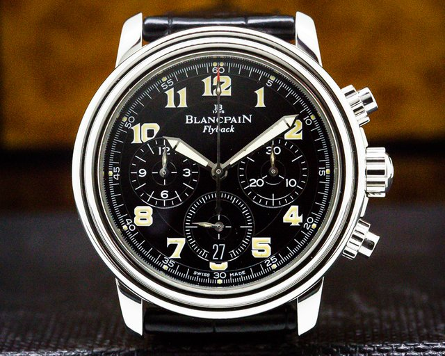 Blancpain 2185F-1130-63B Leman Flyback Chronograph Black Dial SS