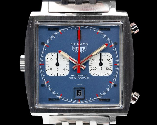 "Heuer 1133B Vintage Monaco ""Steve McQueen"" Blue Dial c. '69-'70 BOX AND PAPERS"