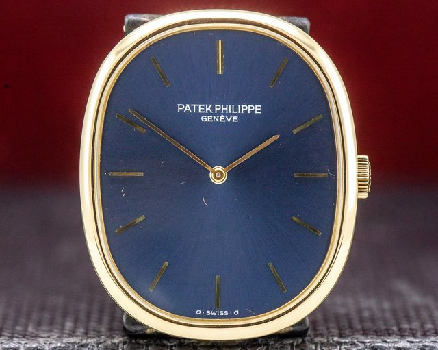 Patek Philippe 3748J Ellipse 18K Yellow Gold Blue Dial Manual Wind
