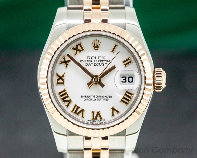 Rolex 179171 Lady Datejust 18K Rose/ SS Jubillee White Roman Dial