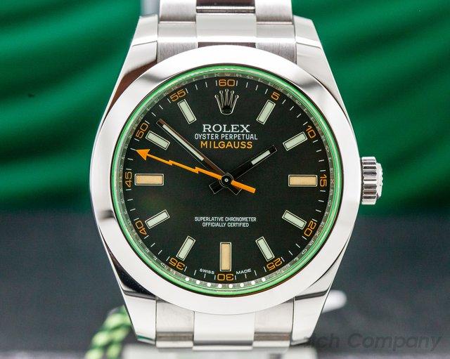 Rolex 116400V Milgauss SS Black Dial Green Crystal UNWORN