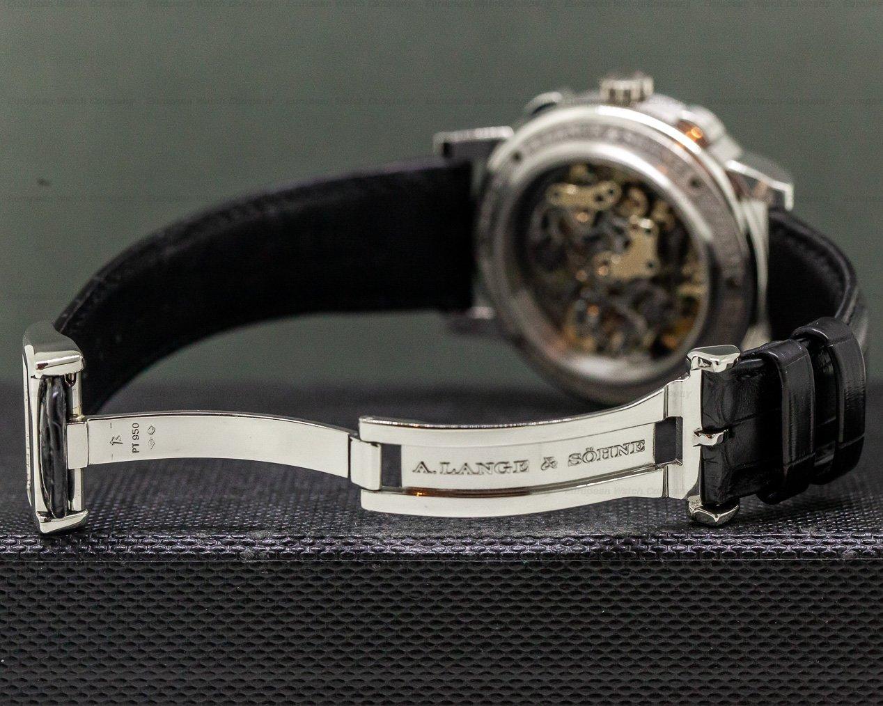 A. Lange and Sohne 404.035 Datograph Double Split Black Dial Platinum / Deployant