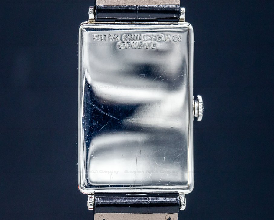 Patek Philippe Rectangular Shape No. 10 Vintage Gondolo White Gold Circa 1927 RARE