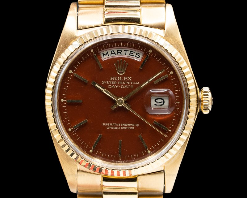 Rolex 1803 Oyster Perpetual Day Date 18K Yellow Gold / Oxblood Stella Dial
