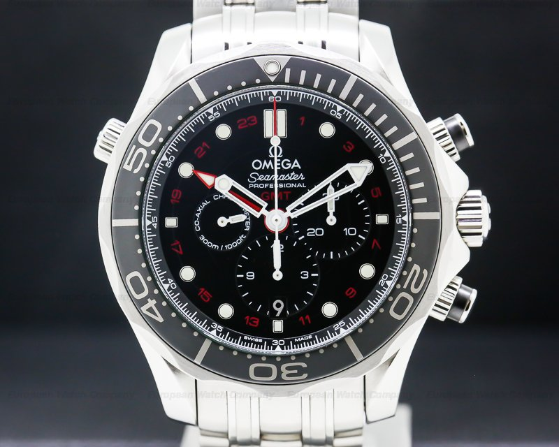 Omega 212.30.44.52.01.001 Seamaster Diver 300M Chronograph GMT SS Black Dial